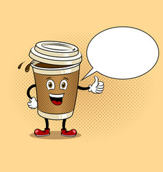 Coffee cup and thumb up pop art vector