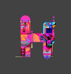 Colorful alphabet font letter h for logo vector