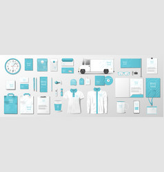corporate identity template with fresh mint color vector image