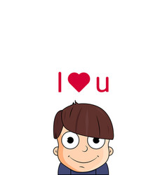 cute cartoon boy with love emotions character vector image