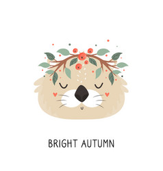 Cute otter in autumn wreath on white background vector