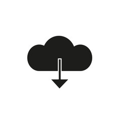 download from cloud black icon vector image