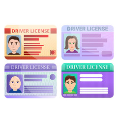 driver license icons set cartoon style vector image