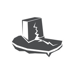 earthquake v icon with damaged house vector image