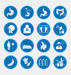 Esophageal cancer and stomach pain icons blue vector