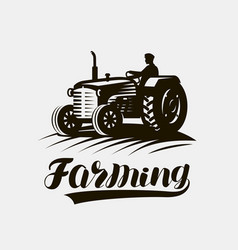 Farming agriculture logo or label american retro vector