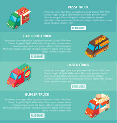 fast food truck horizontal banner set vector image