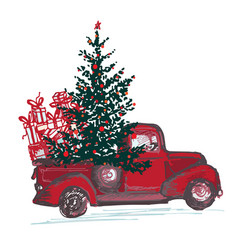 Festive new year 2018 card red truck with fir vector