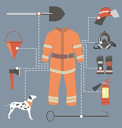 Fire-fighter elements set collection firefighter vector