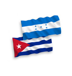 Flags cuba and honduras on a white background vector