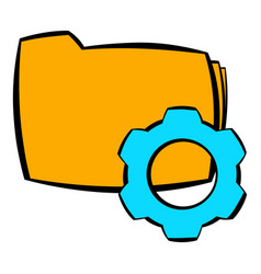 folder with gear wheel icon cartoon vector image