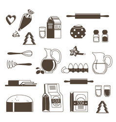 food ingredients for baking and cooking vector image