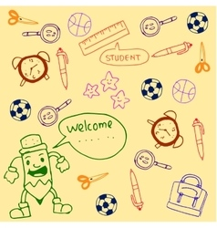 For kids doodles school tools vector