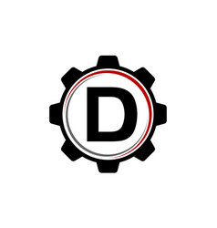 Gear solution logo letter d vector
