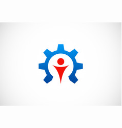 Gear work people logo vector