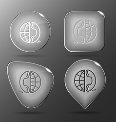 Globe and phone Glass buttons vector image