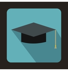 Graduation cap icon in flat style vector image