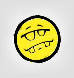 Graffiti emoticon smiling face with glasses vector