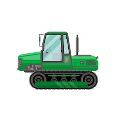 Green caterpillar tractor isolated icon vector