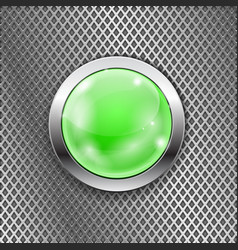 Green round glass button with metal frame on steel vector