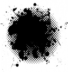 halftone grunge ink splat black vector image