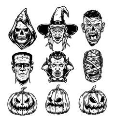 Halloween characters vintage set vector