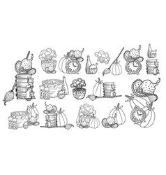 halloween hand drawn icons set vector image