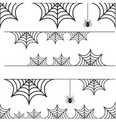 Halloween set of border cobweb with spider vector