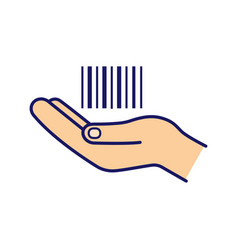 Hand holding barcode color icon vector