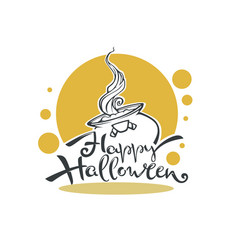 happy halloween logo with witch couldron vector image