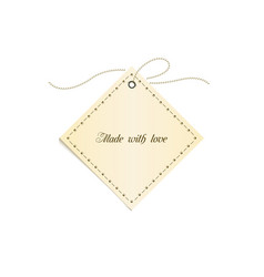 isolated beige tag for logo handmade sign vector image