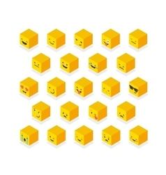 Isometric emoticons cube square colorful icons vector image