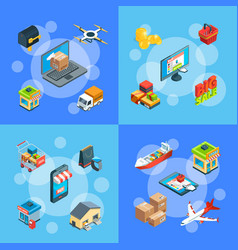 isometric shipping and delivery icons vector image