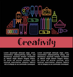 Kids creativity poster of art and drawing tools vector