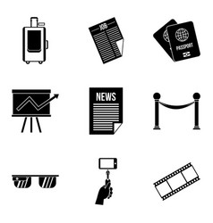 litterateur icons set simple style vector image