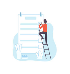 man climbing ladder filling to do list planner vector image