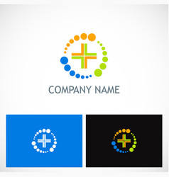 Medic cross colored technology logo vector