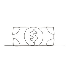 money one line drawing vector image