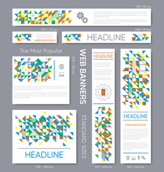 mosaic banner templates collection vector image