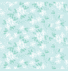 naive sketch meadow flowers seamless pattern vector image