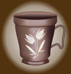 Nostalgic coffee cup with brown polish and white vector