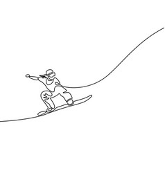one continuous line drawing snowboarder jumps vector image