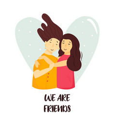 Portrait young girls hugging happy friends vector