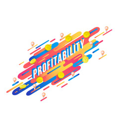 profitability word isometric design with letters vector image