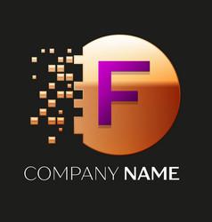 Purple letter f logo symbol in golden pixel circle vector