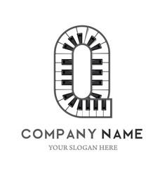 q letter logo design piano keyboard logo vector image