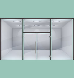 realistic store door glass double office entrance vector image