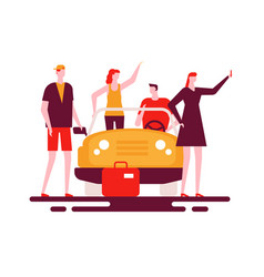 road trip - colorful flat design style vector image