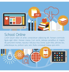 School Online E-Learning Objects Layout Background vector image