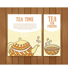 Set of tea vintage banners Hand drawn sketch Menu vector image